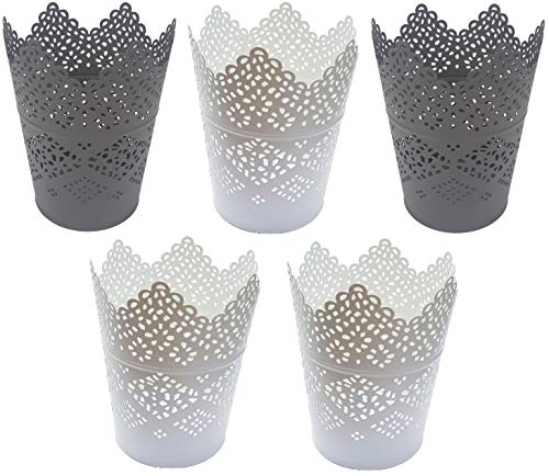 Ikea Skurar Kerzenhalter Teelichthalter (5x11cm, 3X weiß + 2X grau)