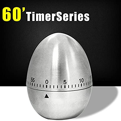 Timer Stainless Kitchen Egg Shaped Cooking Mechanical Countdown Timer kitchen 60 Minutes Silver