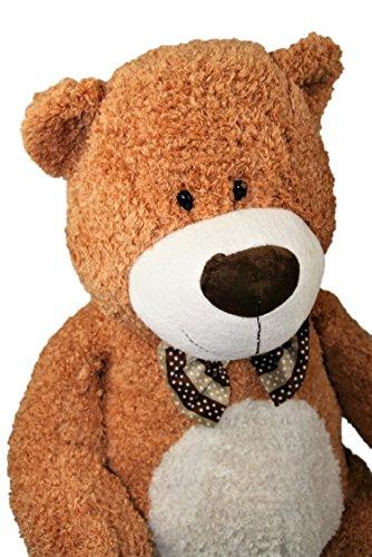 Geschenkestadl Plüschtier großer Bär mit Fliege ca. 80 cm in Braun Kuscheltier Stofftier Teddy