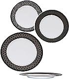 Unbekannt großer Teller -  Retro Design Muster - schwarz - weiß  - Speiseteller - Ø 25 cm - FLACH - aus Melamin / Kunststoff Plastik - für Erwachsene & Kinder - Dekor..