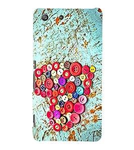 Colourful Buttons Heart 3D Hard Polycarbonate Designer Back Case Cover for Sony Xperia M5 Dual :: Sony Xperia M5 E5633 E5643 E5663