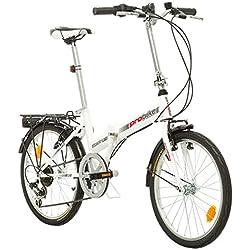 Multibrand, PROBIKE FOLDING 20 CARRIER, 20 pulgadas, 310 mm, Bicicleta de ciudad plegable, 6 velocidades, Unisex, Front + Rear Mudgard, Shimano, Blanco