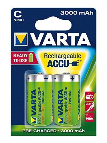 VARTA Rechargeable Accu Ready To Use vorgeladnener C Baby NiMh Akku (2er Pack, 3000 mAh, wiederaufladbar ohne Memory-Effekt - sofort einsatzbereit)