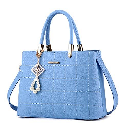 Wewod Damen Handtasche Leder Henkeltasche Frauen Schlicht Schultertasche Trendy Umhängetasche Elegant Damentaschen Classic Ledertasche mit Metall anhänger Blau