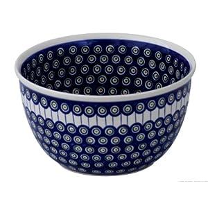 Boleslawiec Pottery Big Salad Bowl, Ø26.3cm, Original Bunzlauer Keramik, Decor 8
