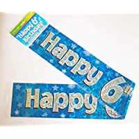 Happy 6th Birthday Banner Age Boy Blue Holographic Wall Kids Party Decorations