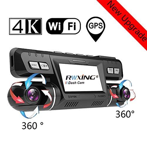 4K WiFi GPS Dashcam Auto Vorne Hinten Dual 340 Grad Wide Angle 360° Drehung Kamera mit Bewegungsmelder WDR Nachtsicht Parküberwachung G-Sensor und ADAS Autokamera Camcorder Tiberwachung Dash Cam DVR