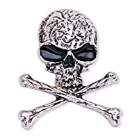 Skull Bones Brooch Pin Gothic Punk Stylish Skeleton Breastpin for Evening Party Costume (X1510, Silver)