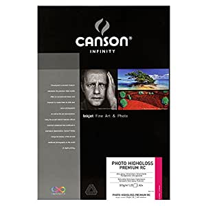 Canson InFinity HighGloss Premium RC Papier Photo 25 Feuilles 315 g A3 + Extra Blanc