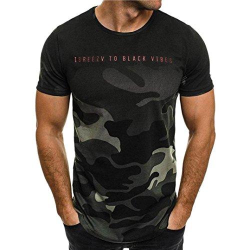 HCFKJ T-Shirt Blusen Herren, Persönlichkeit Camouflage Männer Casual Schlank Kurzarm-Shirt Top Bluse (M, GN)