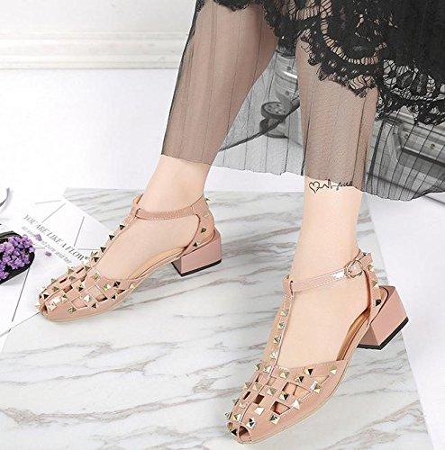 Wort Schnalle Fischkopf flache Schuhe wilde Frauen Schuhe atmungsaktiv hohles Loch Schuhe powder nude