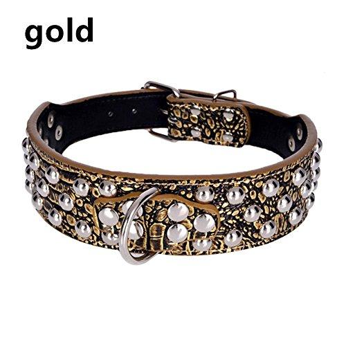 WINNERUS 1PC PU-Leder-Hunde-Ketten-justierbarer PU-Leder-Hals Spiked verzierte Haustier-Welpen-Hundehalsband-Niet-Bügel-Hundehalsband (L, Gold) - Hals-bügel