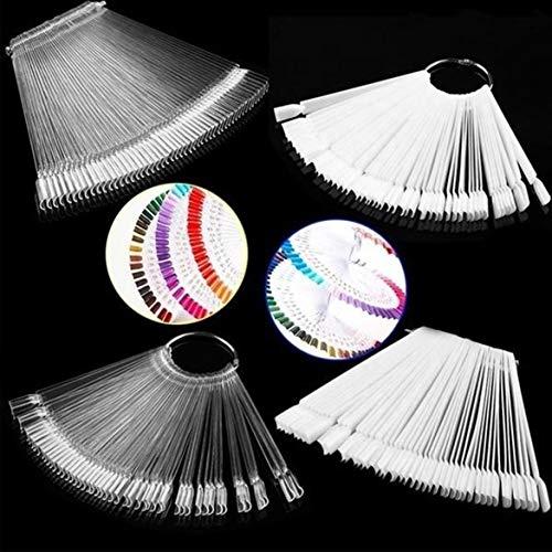 50 / Set Nail Art Tips Display-Übungsstäbchen Fächerförmige Nagellack-Farbfelder Nagelfarbe...