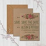 Rustikales Kraft personalisierbar Hochzeit Save the date Karten Vintage Floral inkl. Kraft Umschläge, Save the dates & envelopes kraft