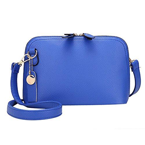 Longra Donna Retro doppio diagonale borsa Zipper Blu
