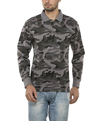 Clifton Mens Army Printed Full Sleeve Collar Polo T-Shirt-Steel Grey-XXL