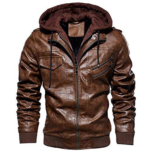 FAXIKIO Chamarra de Piel sintética con Capucha de Forro Polar para Hombre, Chaqueta de Moto Vintage con Capucha extraíble Marrón marrón L