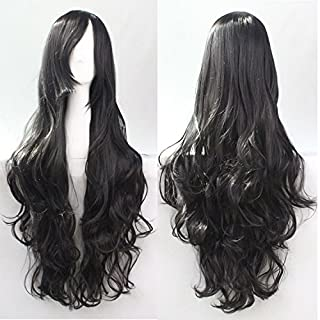 Womens Ladies Girls 80cm Black Color Long Curly Wigs High Quality Hair Carve Cosplay Costume Anime Party Bangs Full Sexy Wigs