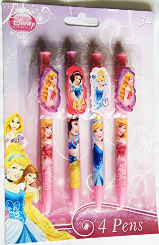 Disney Royal Princess Clip Pens - Pack of 4 with Cinderella Snow White Sleeping Beauty