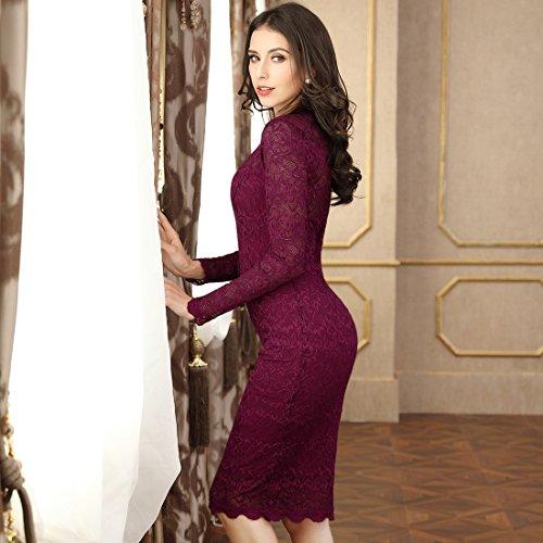 Miusol Damen Elegant Kleider Rundhals Knilanges Spitzenkleid Stretch Ballkleid Abendkleid - 6