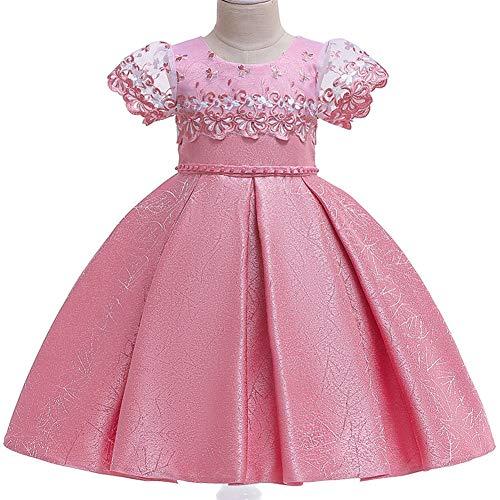YGCLOTHES Mädchen Prinzessin Ärmellos Brautjungfer Festzug Tutu Tüll-Kleid Tanzbekleidung Blumen Lang Rock mit Schmetterling für Kostüm Cosplay Party Hochzeit Kleid 4-13/Jahre,Pink,110cm