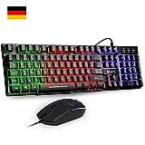 Mafiti RK101 Gaming Tastatur und Maus Set, LED Hintergrundbeleuchtung QWERTZ (DE-Layout), Regenbogen Farben Beleuchtete USB Wasserdicht Tastatur und Maus für Gaming und Büro