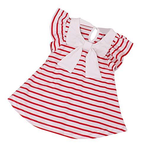 KIMODO Kleinkind Baby Mädchen Kleid Gestreift Kleider Urlaub Prinzessin Kurzarm Sommerkleid Outfit Kleidung