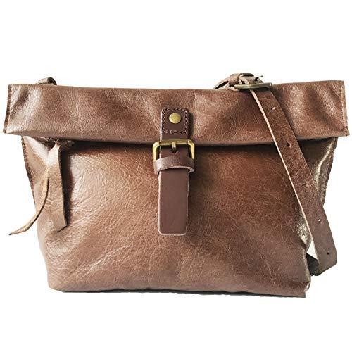 Rhathymia Handgefertigte Vintage-Damen-Satteltasche aus echtem Leder, Braun (Large-coffee), Small