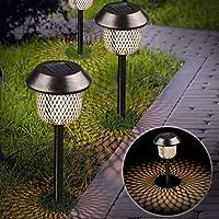 Xddias Pack of 6 Solar Lights Garden Stainless Steel Solar Lamp Lantern Outdoor Light Waterproof Solar Lamps for Garden LED Light Effect Decoration Light for Outdoor Patio Lawn Garden Backyard Paths
