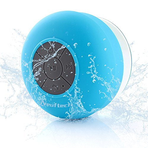 Neuftech Bluetooth Speaker 3.0 Waterproof Stereo Sound with Suction Cup for Shower Pool etc, Blue