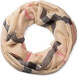 styleBREAKER Karo Muster Loop Schlauchschal, seidig leicht, kariert, Tuch, Damen 01016110, Farbe:Hellbraun