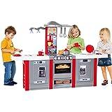 Unbekannt XXL Spielküche mit Esstheke, Sound und Licht, 150x102cm: Kinderküche Spielzeug Küche Spielherd