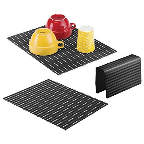 mDesign Set da 3 Tappetini per lavello cucina – Tre accessori cucina anti-graffio per doppio lavandino – Tappetino lavandino e protezione per divisorio – nero