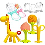 Teething Toys for Babies, DDMA 2 Baby Food Feeder Fruit Feeder with 3 Different Sized Silicone Sacs, 4 Silicone Baby Teethers