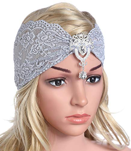Coucoland Spitzen Haarband Damen Turban Hut mit Anhänger Kristall Brosche 1920s Stirnband Damen Exotisch Fasching Kostüm Accessoires (Grau)