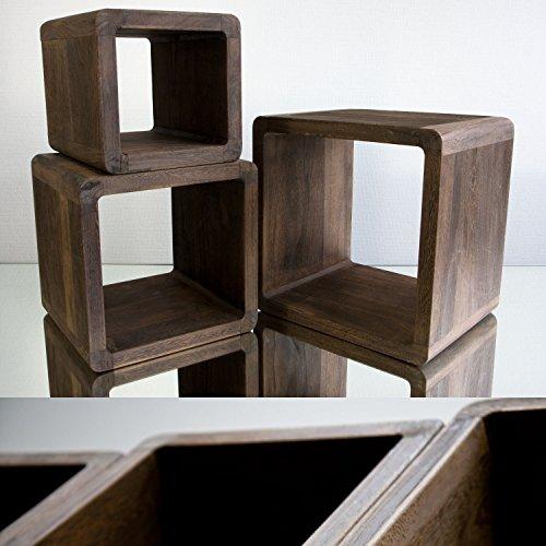 3-teiliges Set Nachttisch (NEG Tisch-Set VINUJA (dunkelbraun) 3-tlg. Nachttisch/Beistelltisch aus Echtholz (Paulownia))