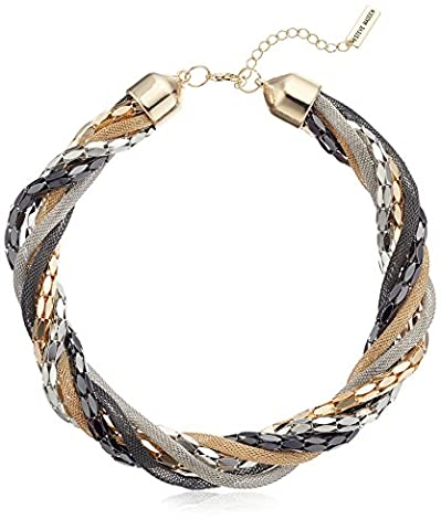 Steve Madden Tri Tone Braided Torsade Necklace, 18