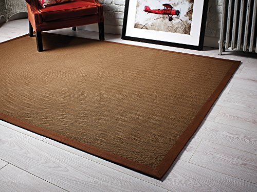 Lord of Rugs Fibra Natural Herringbone de Tejido Plano marrón Alfombr