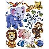 3D Sticker Zootiere Tierkinder * Wandtattoo XXL * Deko für Schultüte , Wand , Tür