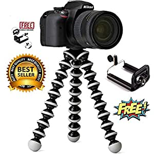 CamArmour Flexible Octopus Foldable Tripod for Camera, DSLR and Smartphones with Universal Mobile Attachment(White & Black)