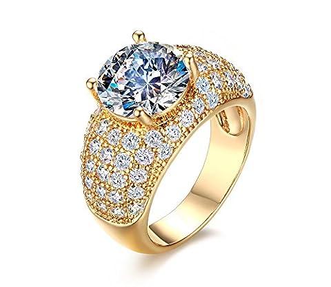 Vnox 18K Gold überzog Kristalldiamant Prinzessin Cut Prong Setting Hochzeit Engagement Band Ring für Frauen Mädchen