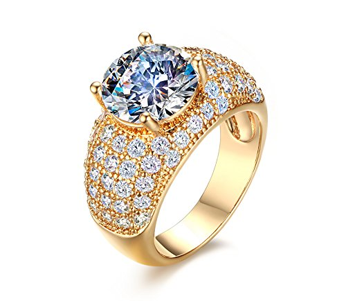 Vnox 18 carats plaqués crystal diamond princess coupe griffes mariage pour les filles engagement band bague