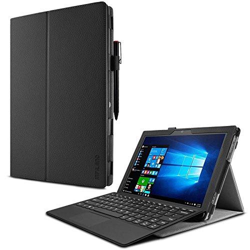 Lenovo Miix 510 Hülle Case -Infiland Slim Fit Folio PU-lederne dünne Kunstleder Schutzhülle Cover Tasche für Lenovo Miix 510 30,99cm (12,2 Zoll FHD) Windows Tablet-PC (Tablet und Tastatur sind nicht entgehaltet)(Schwarz)