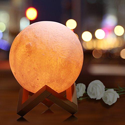 Zoweetek Lámpara luna LED Luz Nocturna 3D 15 cm Control Táctil Inteligente Cargador USB Decoración para Casa Habitación Regalo Cumpleaños, Año Nuevo y Aniversario,etc. (5.9 inch)