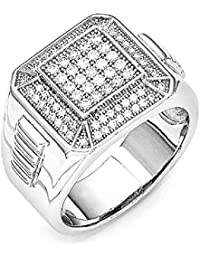 ICE CARATS 925 Sterling Silver Cubic Zirconia Cz Mens Band Ring Man Fine Jewelry Dad Mens Gift Set