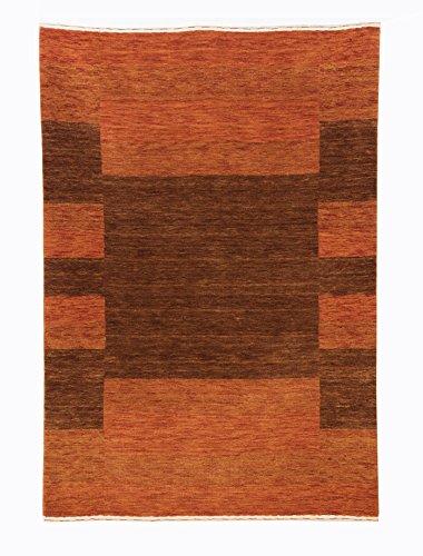 Gabbeh Art Collection Orange und Braun Persischen Inspiriert Wolle Bereich Teppich Modern 2'6