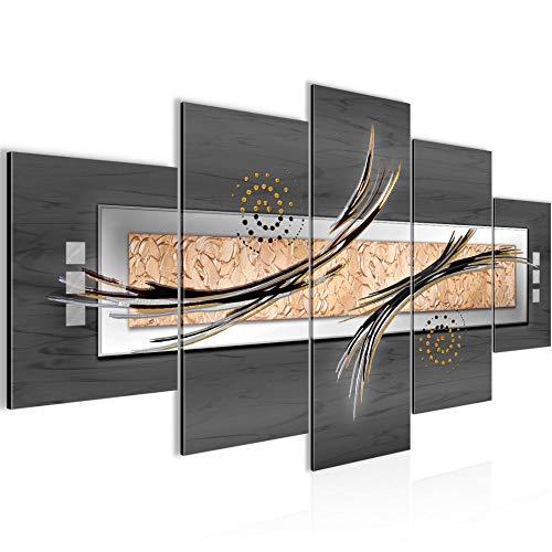 Bilder Abstrakt Wandbild 200 x 100 cm Vlies - Leinwand Bild XXL Format Wandbilder Wohnzimmer Wohnung Deko Kunstdrucke Grau 5 Teilig - MADE IN GERMANY - Fertig zum Aufhängen 103951b