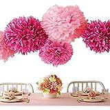Pompón de papel de seda (, merrynine pañuelos de papel de seda (20unidades 81014(marfil, rosa y morado flores de papel guirnalda para compromiso, boda, fiesta de Navidad, decoración (morado tonos Set)
