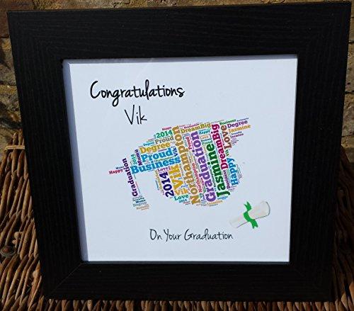Graduazione Wordart 'Stampa multicolore tema' + telaio nero inclusi- persona...