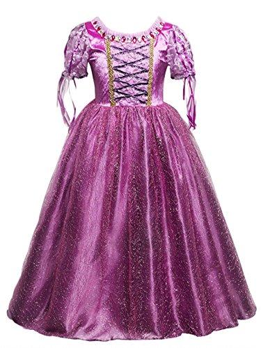 Prinzessin Kostüm Kinder Kleid Mädchen Weihnachten Halloween Festliche Karneval Party Verkleidung Festkleid (Silber Glitzer Weiß Mädchen Handschuhe)